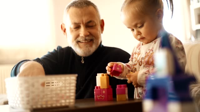 Grandfather With His Granddaughter Grandfather And His Granddaughter Playing With Bricks In The Living Room granddaughter stock videos & royalty-free footage