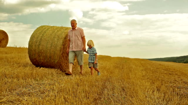 grandfather with his grandson in the field video