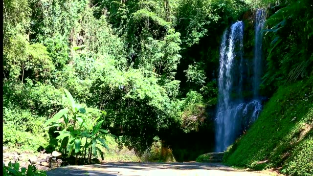 Grandiose waterfall in jungle.