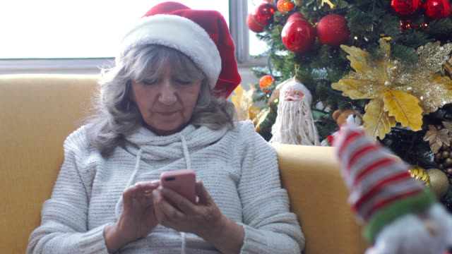 Grandma receiving christmas message
