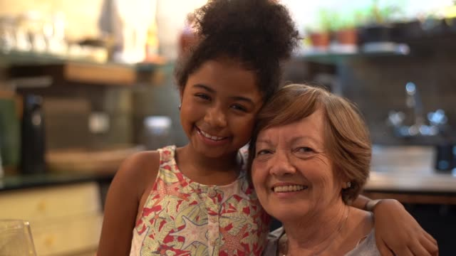 Grandmother and Granddaughter at Kitchen Domestic Life granddaughter stock videos & royalty-free footage