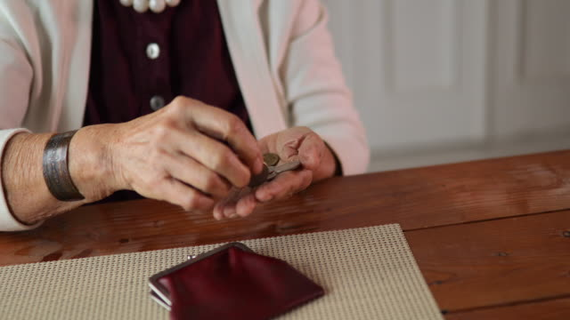 Video Grandmother counting coins