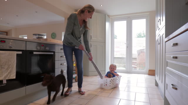 Grandmother Playing With Grandson And Pet Dog Grandmother playing in the kitchen with her grandson and pet dog on a bright day. laundry basket stock videos & royalty-free footage