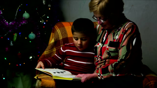 grandmother with grandson sitting in a chair on the background of Christmas tree video