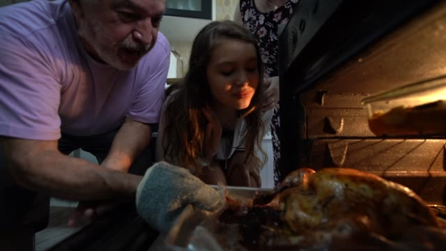 vídeos de stock e filmes b-roll de grandparents and granddaughter checking the traditional turkey for christmas dinner - christmas cooking