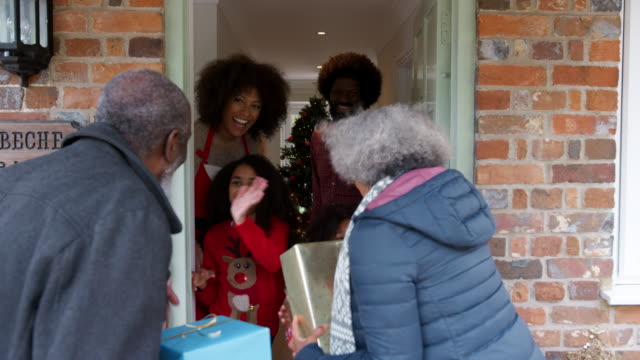 mor-och farföräldrar att välkomnas av familjen när de anländer till besök på juldagen med gåvor - christmas gift family bildbanksvideor och videomaterial från bakom kulisserna