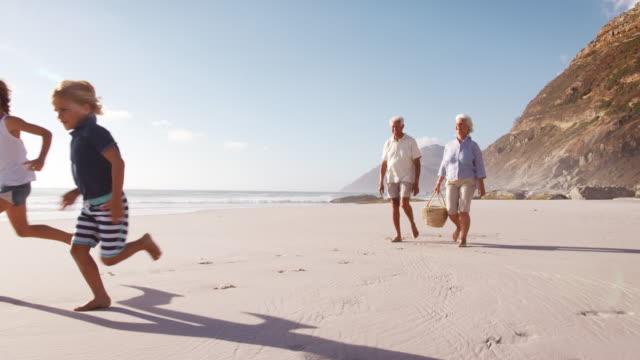 grandparents carrying picnic basket on beach as grandchildren run ahead - babka dziadek i babcia filmów i materiałów b-roll