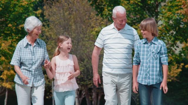 slo mo nonni godendo a piedi nel parco con nipoti - nonna e nipote camminare video stock e b–roll