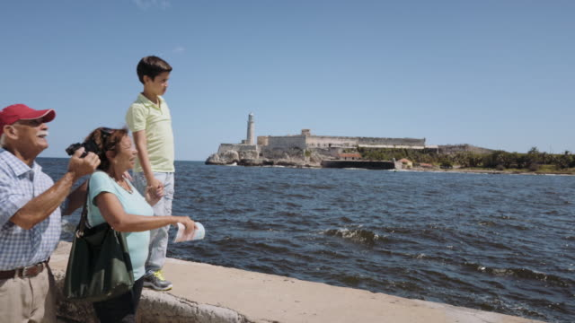 Grandparents Grandson Family On Holidays In Havana Cuba Steadicam video