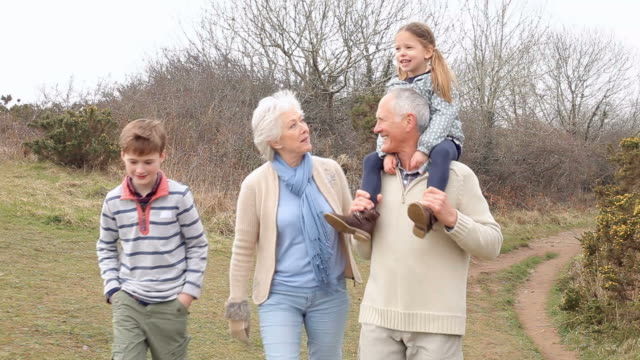 Grandparents With Grandchildren On Walk In Countryside video