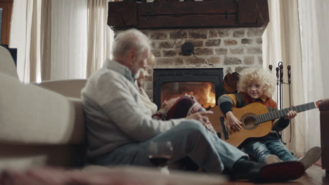 Grandson playing guitar for his grandparents video