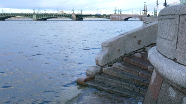 Granite steps on the city promenade. video