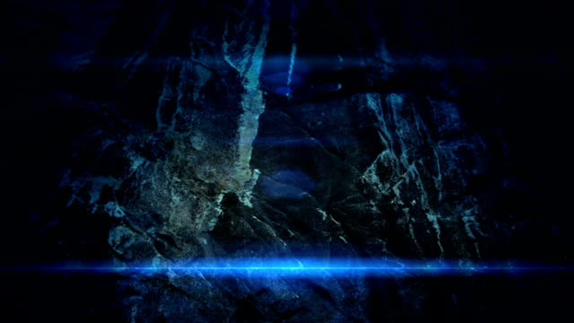 Granite wall and magical blue light video