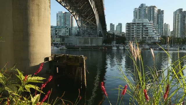 Granville Bridge Sport Fisherman Vancouver dolly shot video