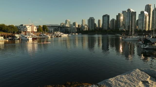 Granville Island Marina and Kayak dolly shot, Vancouver video