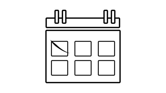 4k grafik über neujahr kalender in minimalen symbol einfachen stil, animieren planung und überprüfung zum training für etwas urlaub event-planer, mark oder nicht auf kalender sonntag, lifestyle-konzept - kalender icon stock-videos und b-roll-filmmaterial
