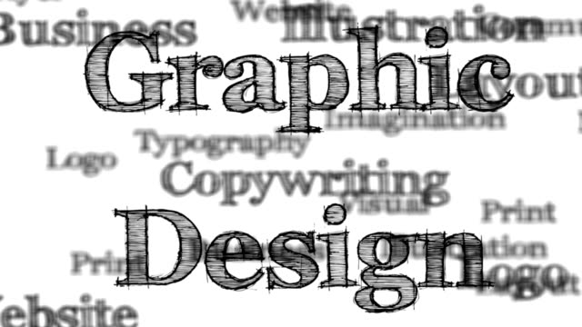 Graphic Design words background loop with matte video