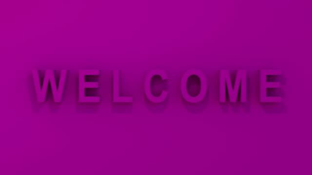 """""""welcome"""" 3d-grafik i rosa/magenta - affärskonferens bildbanksvideor och videomaterial från bakom kulisserna"""