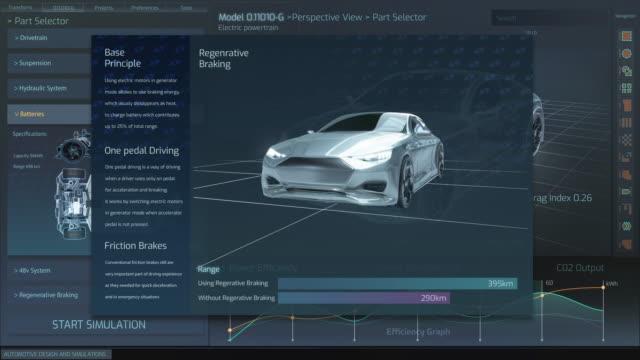 stockvideo's en b-roll-footage met 3d graphics visualisatie toont elektrische auto frame ontwikkelen in real time in afgewerkte futuristische concept. eco-vriendelijk concept van een voertuig. - gewone snelheid