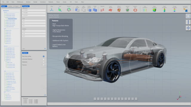 3D Graphics Visualization Shows Electric Car Frame Developing in Real Time into Finished Futuristic Concept. Eco-Friendly Concept of a Vehicle. 3D Graphics Visualization Shows Electric Car Frame Developing in Real Time into Finished Futuristic Concept. Eco-Friendly Concept of a Vehicle. cycle vehicle stock videos & royalty-free footage