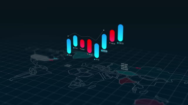 Graphs and charts information graphic 3D animation over world map background, 4k