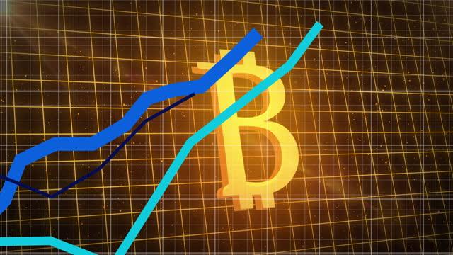 stockvideo's en b-roll-footage met grafieken die zich over net tegen gouden bitcoinsymbool bewegen - bitcoin