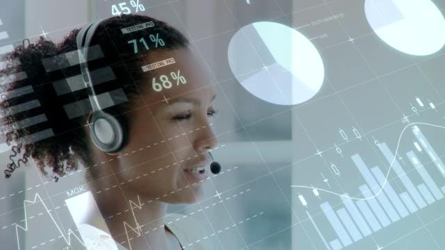 graphen, statistiken und callcenter-agenten - digital composite stock-videos und b-roll-filmmaterial
