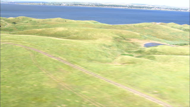 Grassland and Missouri River - Aerial View - South Dakota, Corson County, United States video
