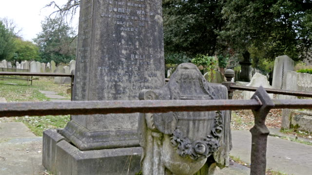 A gravestone with a fence in a cemetery video