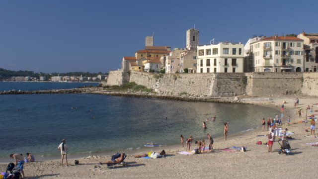 Gravette Beach. Antibes. Cote D'Azur. 4K resolution. french architecture stock videos & royalty-free footage