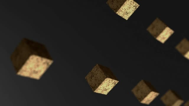 Gravity gold cube rotating abstract background 3d animation 4k
