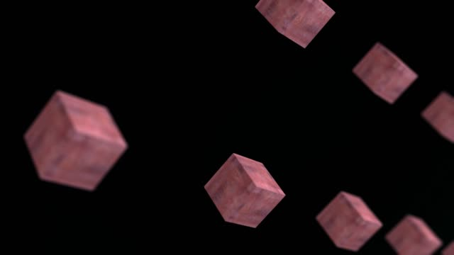 Gravity metal rust cube rotating abstract background 3d animation 4k