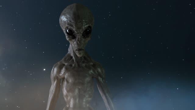 gray alien på mörk bakgrund. 3d-rendering - rymdvarelse bildbanksvideor och videomaterial från bakom kulisserna