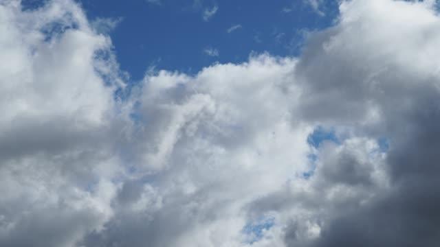 graue wolken laufen über himmelblau am nachmittag vor regen - untersicht stock-videos und b-roll-filmmaterial