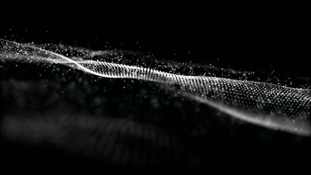 vídeos de stock e filmes b-roll de gray color hi-tech digital abstract wave particles flow motion background - sarapintado