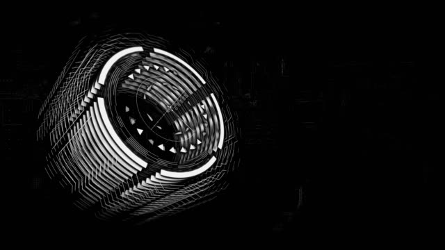 3d gray cylinder is rotating in space, background a electric charge board - cilindro video stock e b–roll