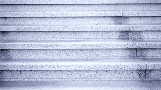 gray marble staircase outdoor. stone steps go down up. no people around empty stairway - staircases stock videos & royalty-free footage