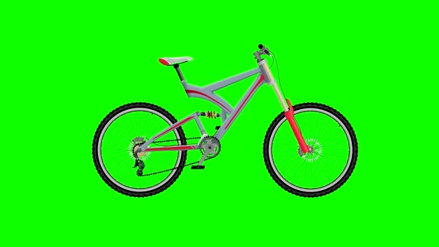 Gray mountain bike on Green Screen Background