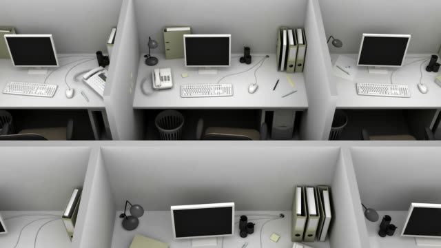 Gray office for routine work. Loop. video