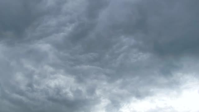 gray rain clouds are moving in the sky. timelapse - ghiaccio galleggiante video stock e b–roll