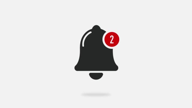 Gray ringing bell notification button motion graphics. Seamless looped cartoon