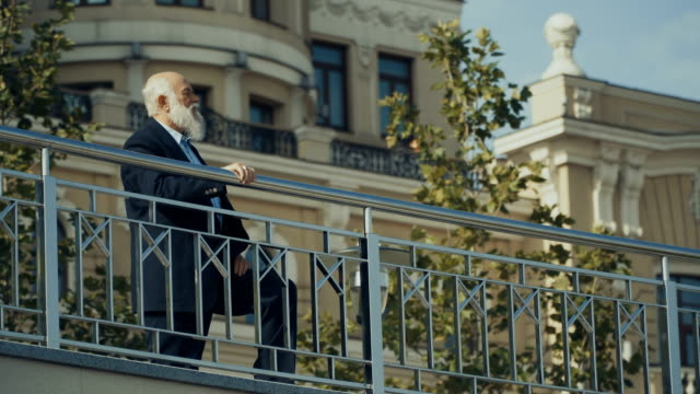 Gray-haired senior man enjoys city from observation deck video
