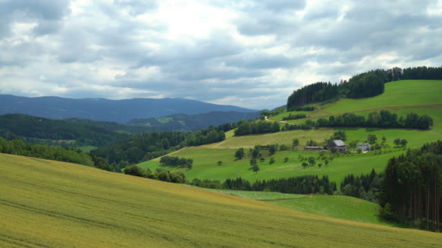 graz, austria. view of the farm and valley in the countryside - styria filmów i materiałów b-roll