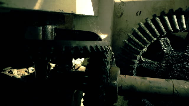 Greasy big gears in an old factory