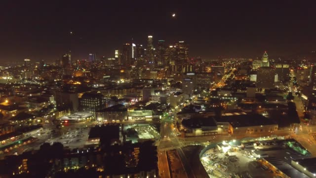 Great Aerial shot of Los Angeles at night video