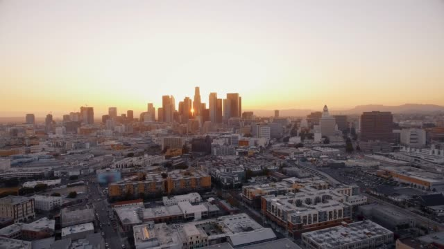 Great Aerial shot of Los Angeles during sunset video