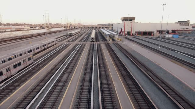 Great aerial shot over multiple Train Tracks video