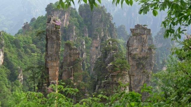 great and peaceful vertical cliffs in zhangjiajie national forest park where avatar movie was shot. steadicam shot, 4k - ważne miejsce w świadomości narodowej filmów i materiałów b-roll