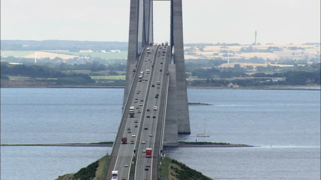 Great Belt Bridge (Centre Section)  - Aerial View - Zealand, Denmark This clip was filmed by Skyworks on HDCAM SR 4:4:4 using the Cineflex gimbal. denmark stock videos & royalty-free footage