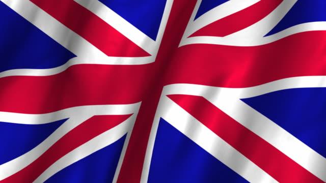 Great Britain Flag - waving, looping video